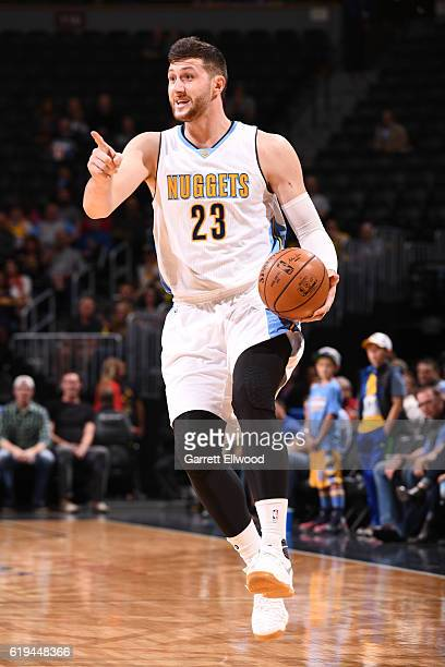 Jusuf Nurkic of the Denver Nuggets dribbles the ball up court against the Dallas Mavericks during an NBA preseason game on October 21 2016 at the...