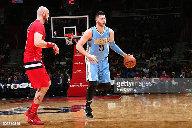 Jusuf Nurkic of the Denver Nuggets handles the ball against the Washington Wizardson January 28 2016 at Verizon Center in Washington DC NOTE TO USER...
