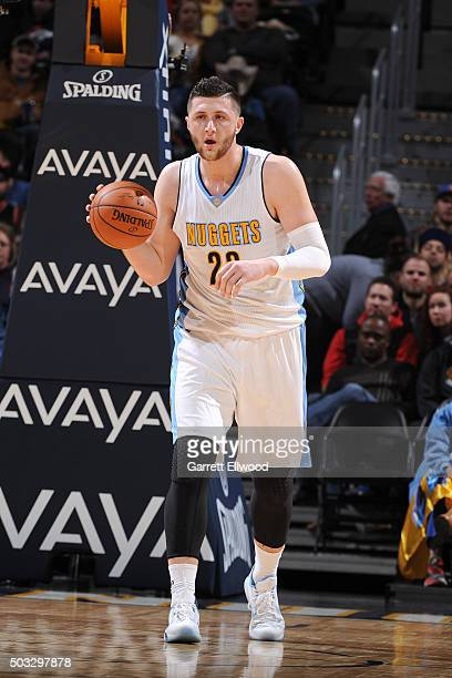 Jusuf Nurkic of the Denver Nuggets handles the ball during the game against the Portland Trail Blazers on January 3 2016 at the Pepsi Center in...