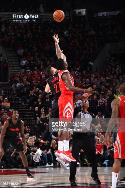 Jusuf Nurkic of the Portland Trail Blazers and Clint Capela of the Houston Rockets tip off at the start of the game on March 20 2018 at the Moda...