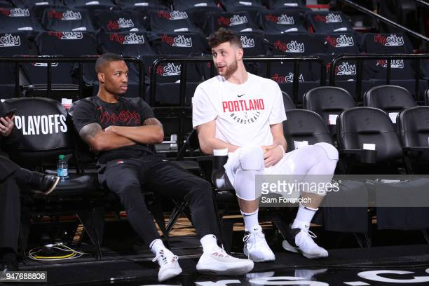 Jusuf Nurkic of the Portland Trail Blazers and Damian Lillard of the Portland Trail Blazers talk before the game against the New Orleans Pelicans in...