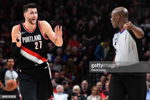 Jusuf Nurkic of the Portland Trail Blazers argues a call with an official during the first quarter of the game against the Portland Trail Blazers at...