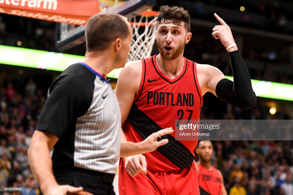 Jusuf Nurkic (27) of the Portland Trail Blazers argues a foul called against him, while playing the Denver Nuggets during the second half of the Nuggets' 88-82 win on Monday, April 9, 2018.