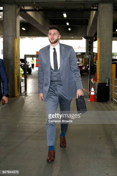 Jusuf Nurkic of the Portland Trail Blazers arrives at the arena before the game against the New Orleans Pelicans in Game Two of Round One of the 2018...