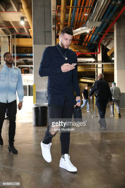 Jusuf Nurkic of the Portland Trail Blazers arrives at the stadium before the game against the New Orleans Pelicans in Game Three of Round One of the...