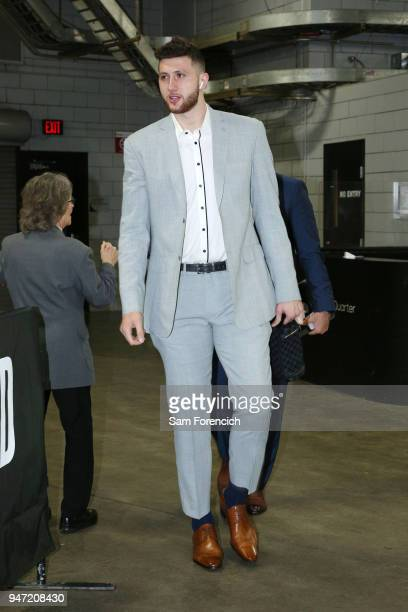 Jusuf Nurkic of the Portland Trail Blazers arrives before the game against the New Orleans Pelicans in Game One of Round One of the 2018 NBA Playoffs...