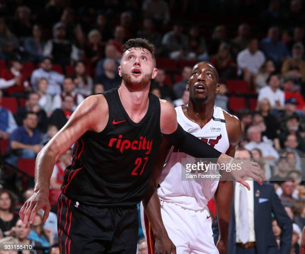 Jusuf Nurkic of the Portland Trail Blazers boxes out against the Miami Heat on March 12 2018 at the Moda Center in Portland Oregon NOTE TO USER User...