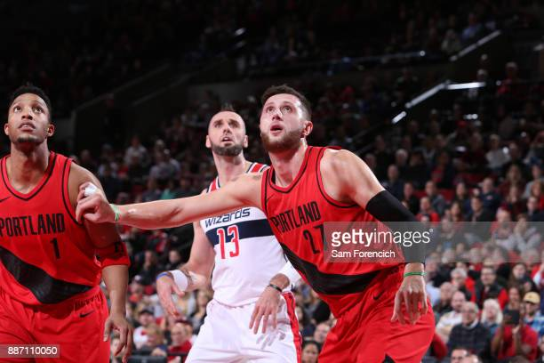Jusuf Nurkic of the Portland Trail Blazers boxes out and waits for a rebound against the Washington Wizards on December 5 2017 at the Moda Center...