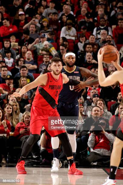Jusuf Nurkic of the Portland Trail Blazers calls for the ball against the New Orleans Pelicans on December 2 2017 at the Moda Center in Portland...