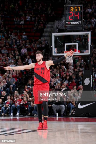 Jusuf Nurkic of the Portland Trail Blazers celebrates hitting a 3 point shot against the New Orleans Pelicans on December 2 2017 at the Moda Center...