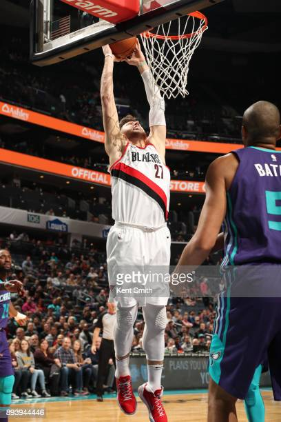 Jusuf Nurkic of the Portland Trail Blazers dunks against the Charlotte Hornets on December 16 2017 at Spectrum Center in Charlotte North Carolina...