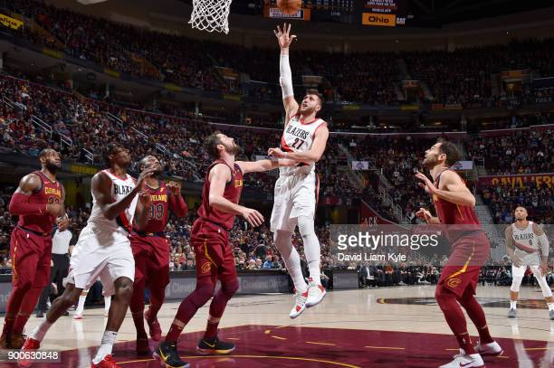 Jusuf Nurkic of the Portland Trail Blazers dunks against the Cleveland Cavaliers on January 2 2018 at Quicken Loans Arena in Cleveland Ohio NOTE TO...
