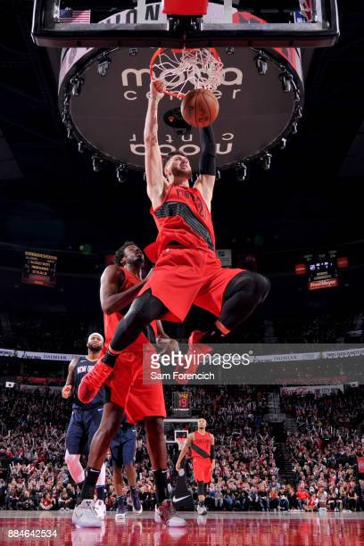 Jusuf Nurkic of the Portland Trail Blazers dunks the ball against the New Orleans Pelicans on December 2 2017 at the Moda Center in Portland Oregon...
