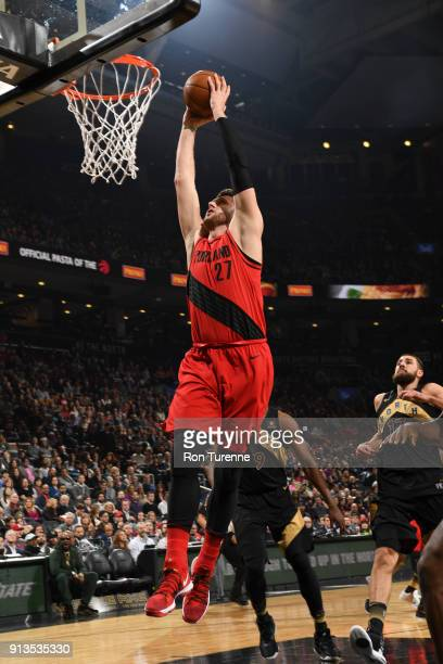 Jusuf Nurkic of the Portland Trail Blazers dunks the ball against the Toronto Raptors on February 2 2018 at the Air Canada Centre in Toronto Ontario...