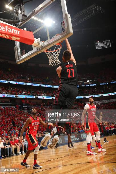 Jusuf Nurkic of the Portland Trail Blazers dunks the ball against the New Orleans Pelicans in Game Three of Round One of the 2018 NBA Playoffs on...