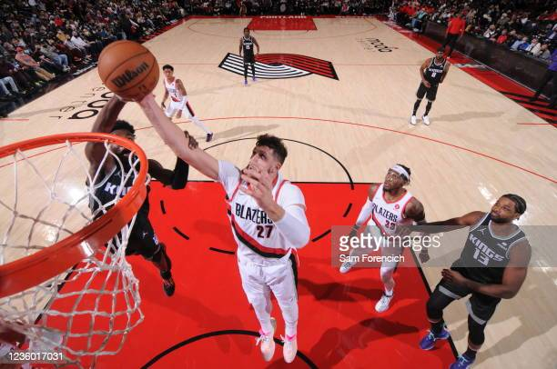 Jusuf Nurkic of the Portland Trail Blazers dunks the ball during the game against the Sacramento Kings on October 20, 2021 at the Moda Center Arena...