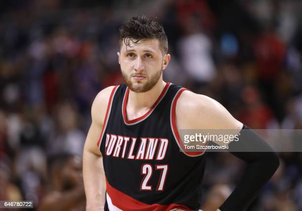 Jusuf Nurkic of the Portland Trail Blazers during their game against the Toronto Raptors during NBA game action at Air Canada Centre on February 26...