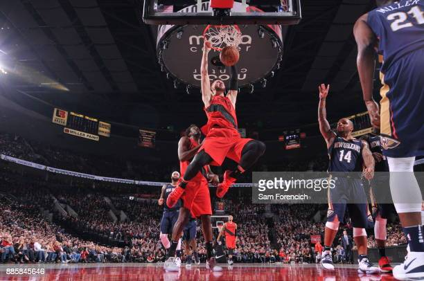 Jusuf Nurkic of the Portland Trail Blazers goes to the basket against the New Orleans Pelicans on December 2 2017 at the Moda Center Arena in...