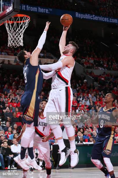 Jusuf Nurkic of the Portland Trail Blazers goes to the basket against the New Orleans Pelicans in Game Two of Round One of the 2018 NBA Playoffs on...