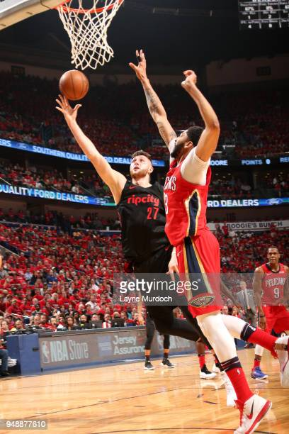 Jusuf Nurkic of the Portland Trail Blazers goes to the basket against the New Orleans Pelicans in Game Three of Round One of the 2018 NBA Playoffs on...