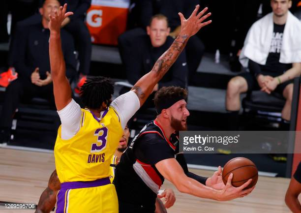 Jusuf Nurkic of the Portland Trail Blazers goes up for a shot against Anthony Davis of the Los Angeles Lakers during the second quarter in Game Five...