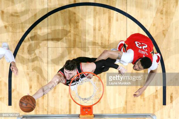 Jusuf Nurkic of the Portland Trail Blazers grabs the rebound against the New Orleans Pelicans in Game Four of Round One of the 2018 NBA Playoffs on...