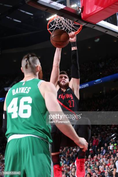 Jusuf Nurkic of the Portland Trail Blazers handles the ball against the Boston Celtics on November 11 2018 at the Moda Center in Portland Oregon NOTE...