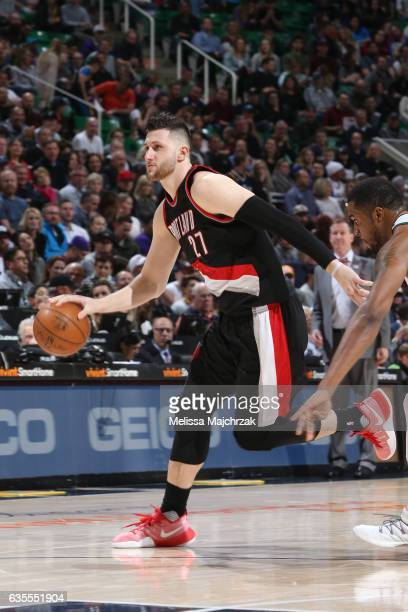 Jusuf Nurkic of the Portland Trail Blazers handles the ball against the Utah Jazz on February 15 2017 at vivintSmartHome Arena in Salt Lake City Utah...