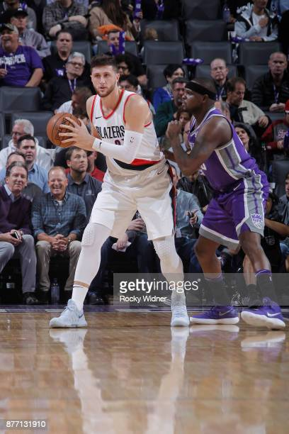 Jusuf Nurkic of the Portland Trail Blazers handles the ball against Zach Randolph of the Sacramento Kings on November 17 2017 at Golden 1 Center in...