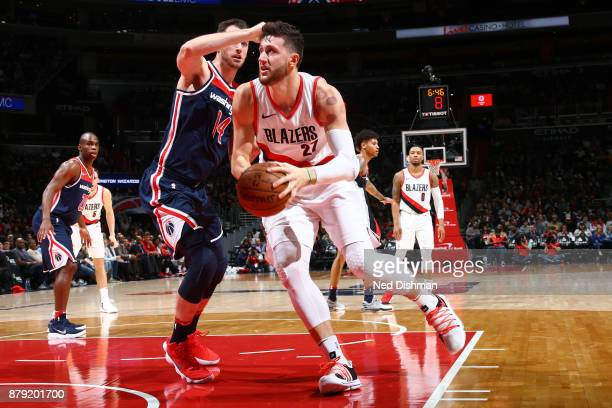 Jusuf Nurkic of the Portland Trail Blazers handles the ball against the Washington Wizards on November 25 2017 at Capital One Arena in Washington DC...