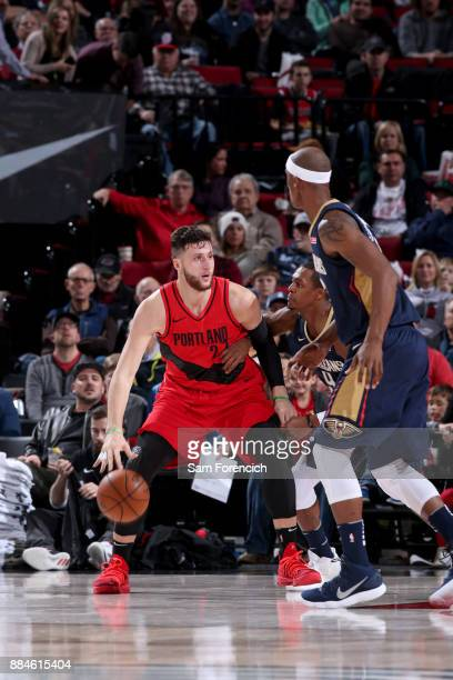Jusuf Nurkic of the Portland Trail Blazers handles the ball against the New Orleans Pelicans on December 2 2017 at the Moda Center in Portland Oregon...