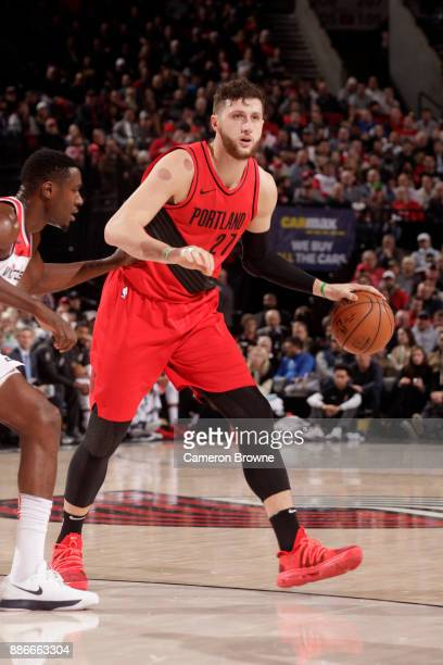 Jusuf Nurkic of the Portland Trail Blazers handles the ball against the Washington Wizards on December 5 2017 at the Moda Center in Portland Oregon...
