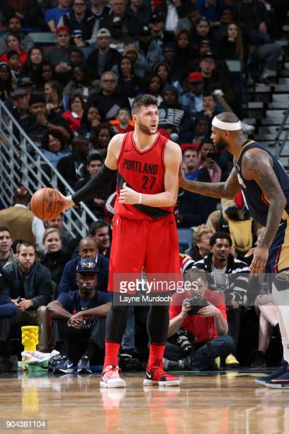 Jusuf Nurkic of the Portland Trail Blazers handles the ball against the New Orleans Pelicans on January 12 2018 at the Smoothie King Center in New...