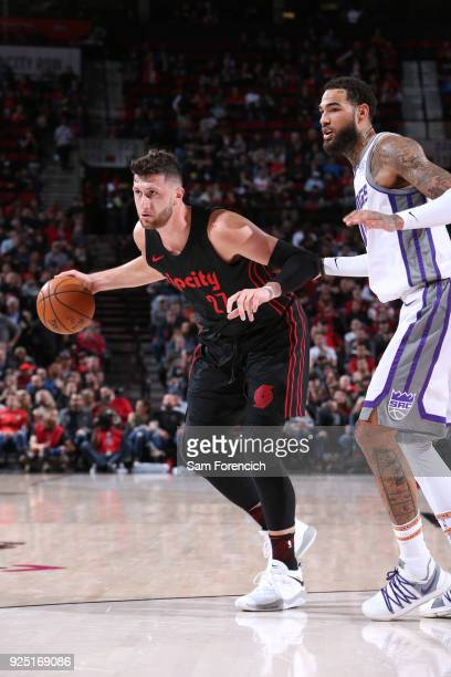 Jusuf Nurkic of the Portland Trail Blazers handles the ball against the Sacramento Kings on February 27 2018 at the Moda Center in Portland Oregon...