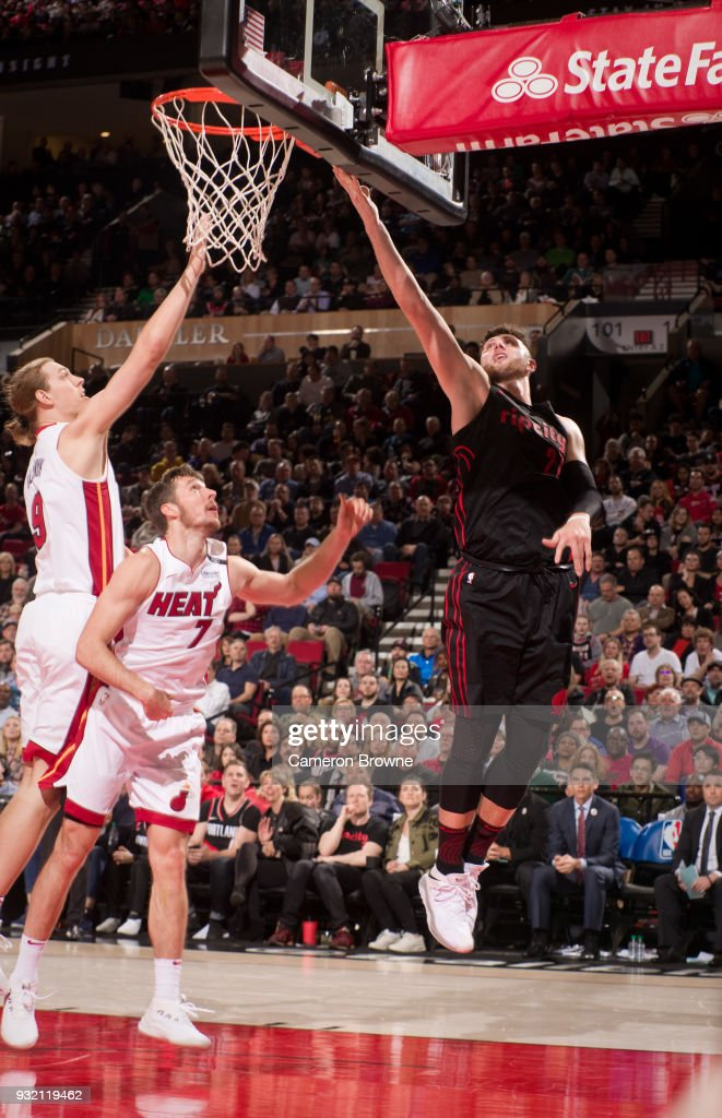 Jusuf Nurkic #27 of the Portland Trail Blazers handles the ball against the Miami Heat on March 12, 2018 at the Moda Center Arena in Portland, Oregon.