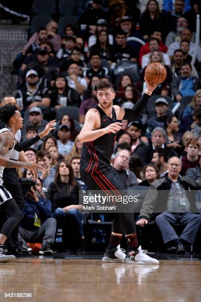 Jusuf Nurkic of the Portland Trail Blazers handles the ball against the San Antonio Spurs on April 7 2018 at the ATT Center in San Antonio Texas NOTE...