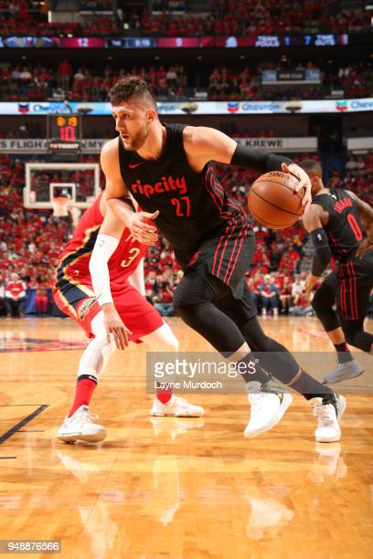 Jusuf Nurkic of the Portland Trail Blazers handles the ball against the New Orleans Pelicans in Game Three of Round One of the 2018 NBA Playoffs on...