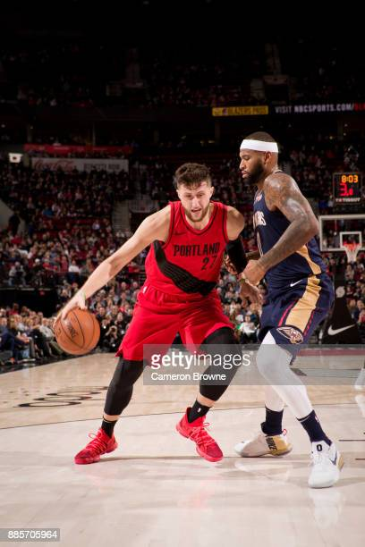 Jusuf Nurkic of the Portland Trail Blazers handles the ball during the game against the New Orleans Pelicans on December 2 2017 at the Moda Center...