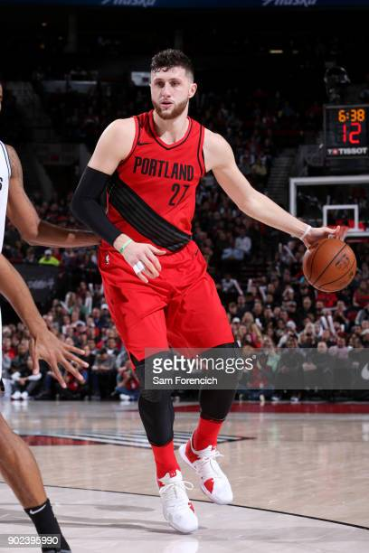 Jusuf Nurkic of the Portland Trail Blazers handles the ball during the game against the San Antonio Spurs on January 7 2018 at the Moda Center in...