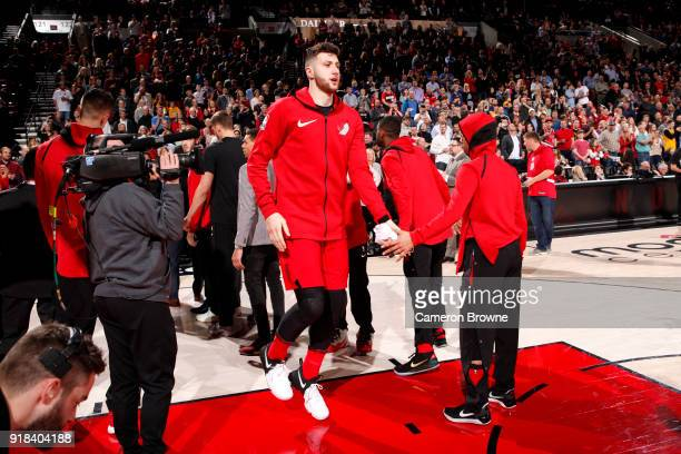 Jusuf Nurkic of the Portland Trail Blazers is introduced onto th court before the game against the Golden State Warriors on February 14 2018 at the...