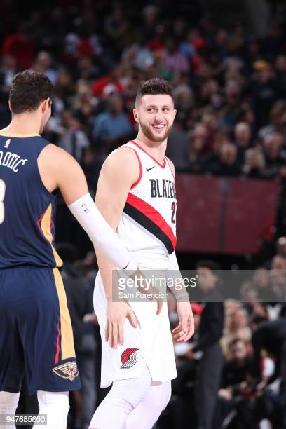 Jusuf Nurkic of the Portland Trail Blazers looks and during the game against the New Orleans Pelicans in Game One of the Western Conference...
