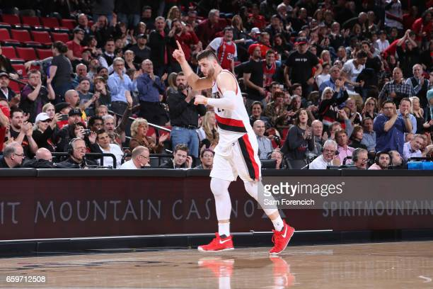 Jusuf Nurkic of the Portland Trail Blazers looks on during the game against the Denver Nuggets on March 28 2017 at the Moda Center in Portland Oregon...