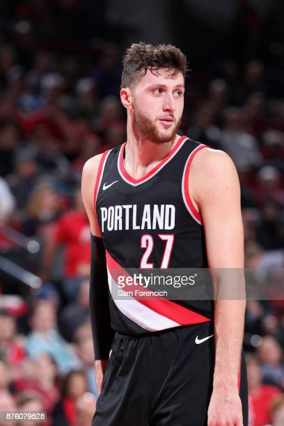 Jusuf Nurkic of the Portland Trail Blazers looks on during the game against the Sacramento Kings on November 18 2017 at the Moda Center in Portland...