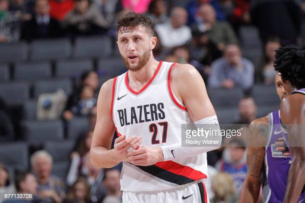 Jusuf Nurkic of the Portland Trail Blazers looks on during the game against the Sacramento Kings on November 17 2017 at Golden 1 Center in Sacramento...