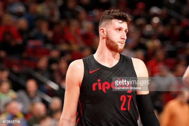 Jusuf Nurkic of the Portland Trail Blazers looks on during the game against the Chicago Bulls on January 31 2018 at the Moda Center in Portland...