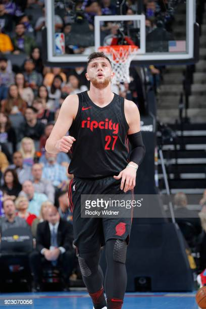 Jusuf Nurkic of the Portland Trail Blazers looks on during the game against the Sacramento Kings on February 9 2018 at Golden 1 Center in Sacramento...