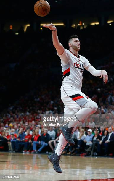 Jusuf Nurkic of the Portland Trail Blazers passes the ball against the Golden State Warriors during Game Three of the Western Conference...