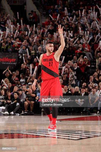 Jusuf Nurkic of the Portland Trail Blazers reacts during the game against the San Antonio Spurs on December 20 2017 at the Moda Center in Portland...