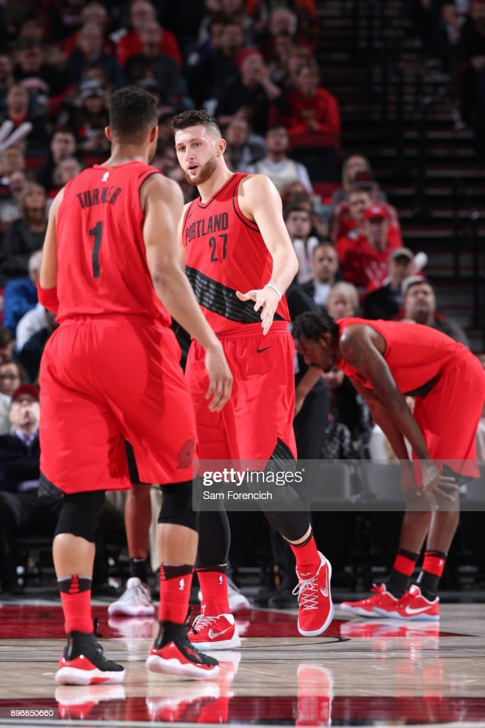 Jusuf Nurkic #27 of the Portland Trail Blazers reacts during the game against the San Antonio Spurs on December 20, 2017 at the Moda Center Arena in Portland, Oregon.