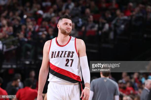 Jusuf Nurkic of the Portland Trail Blazers reacts to a play against the Philadelphia 76ers during the game on March 9 2017 at the Moda Center in...